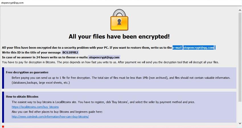 El archive de virus .adobe muestra una nota HTA de rescate