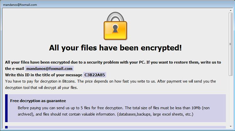 Cesar ransomware Info.hta rescate nota