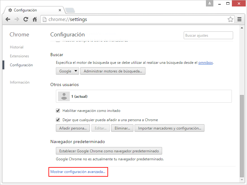 Restablecer Chrome 2