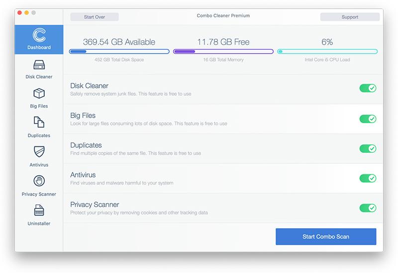 Combo Cleaner: Start Combo Scan