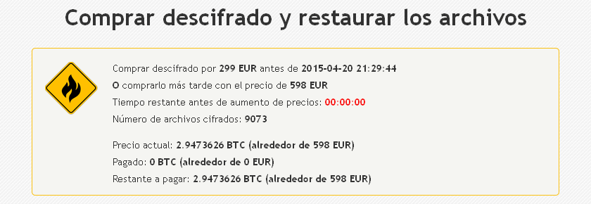 Crypt0L0cker: Comprar Descifrado
