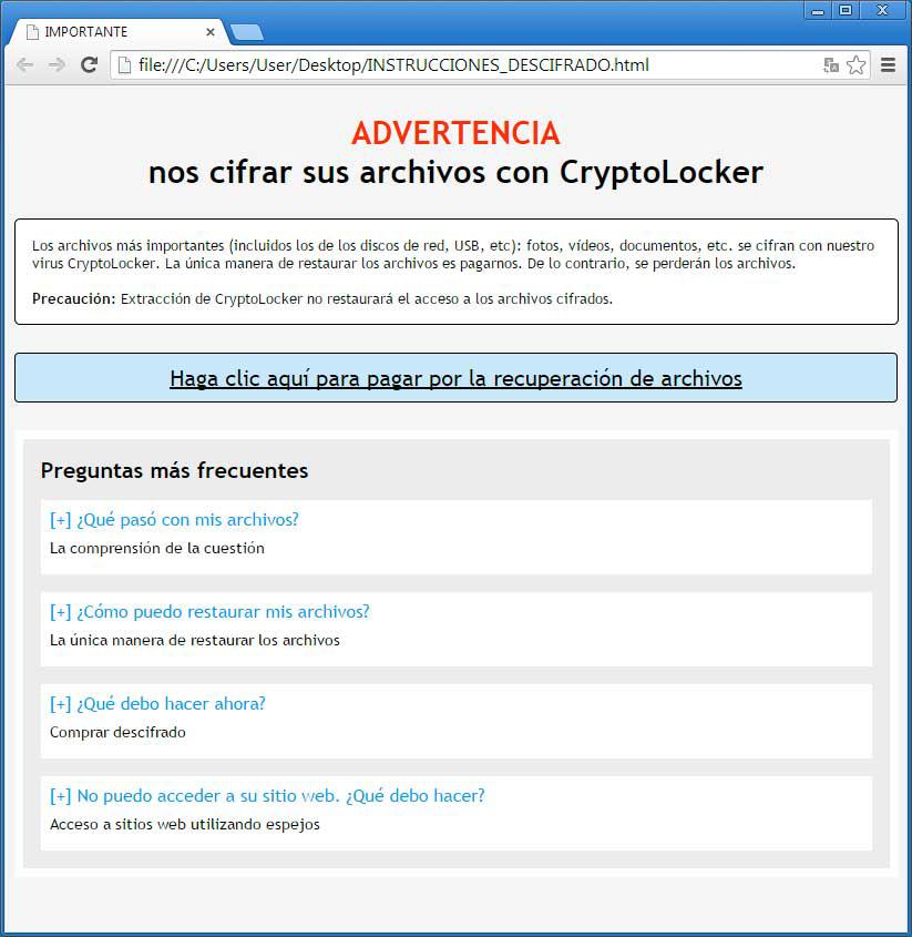 Crypt0L0cker: instrucciones descifrado