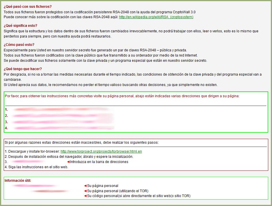 HELP_DECRYPT archivo mostrado a las víctimas del CryptoWall 3.0
