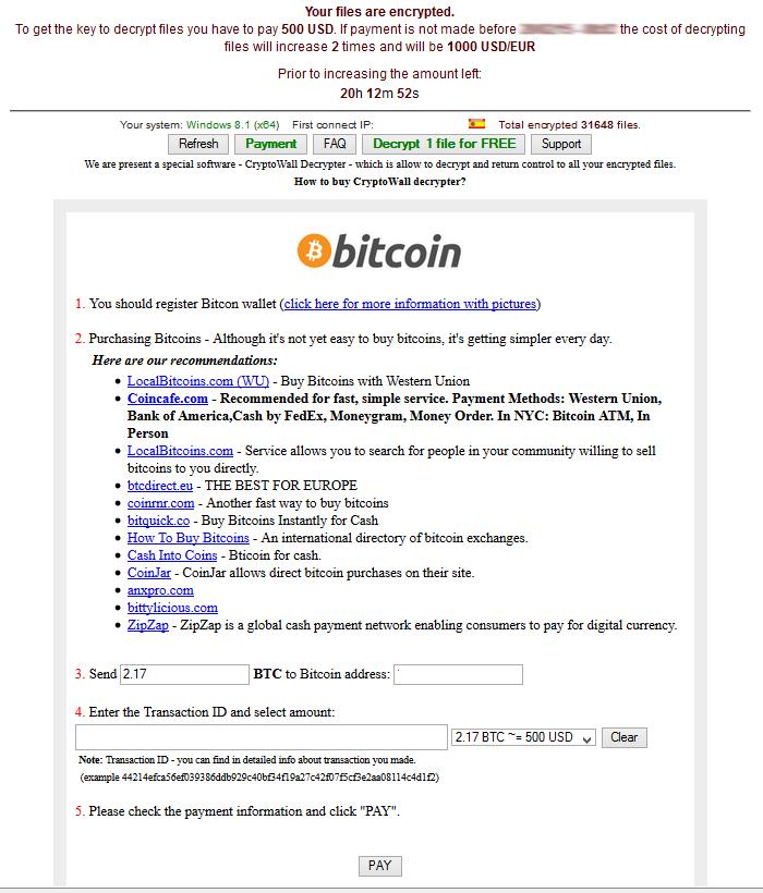 CryptoWall 3.0 – Pantalla de Pago