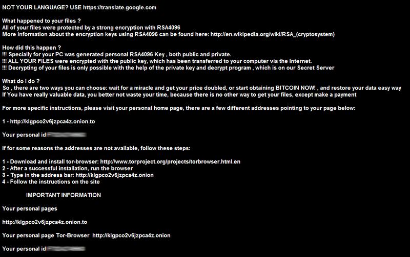 Fondo de pantalla establecido por el virus de .crypt
