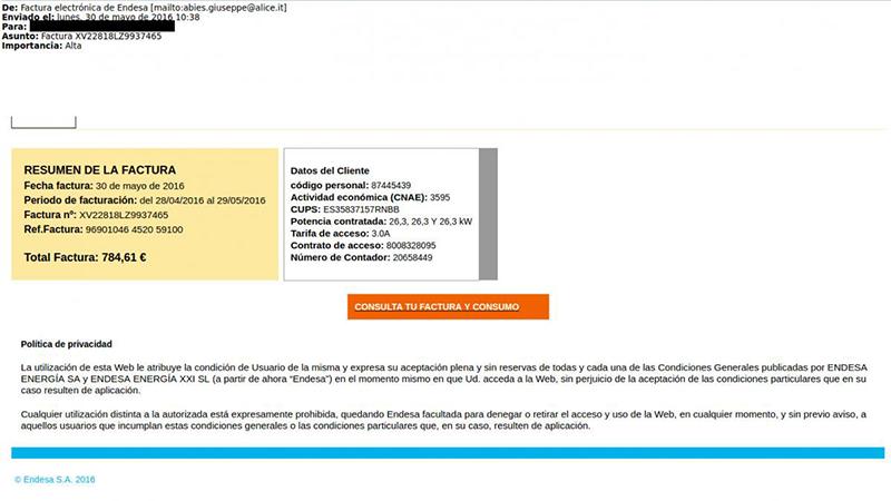 Facturas falsas enviadas por correo electrónico a nombre de Endesa