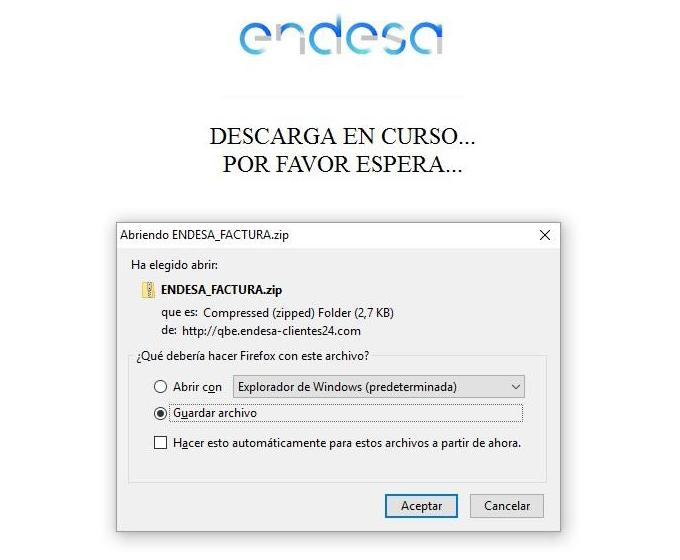 Endesa_Factura.zip adjunto en el correo de phishing