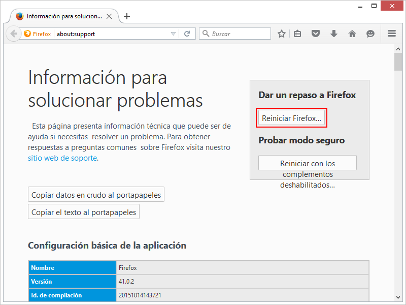 Reiniciar Firefox 2