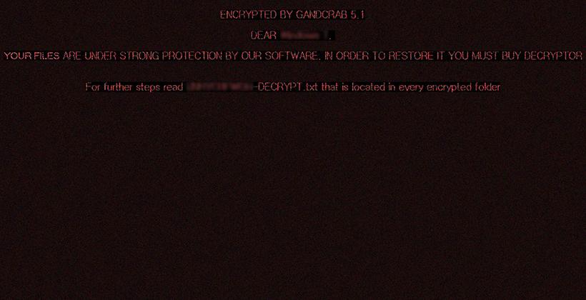 El fondo de pantalla de escritorio establecido por GandCrab 5.1.0 con el mensaje de advertencia más la referencia a la nota de rescate