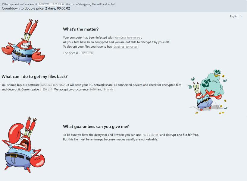 Página de pago GandCrab 5.1