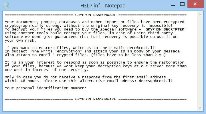 Nota de rescate por el ransomware Gryphon