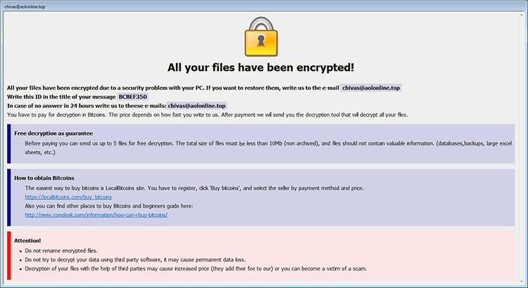 Nota de rescate de Info.hta por ransomware Arena