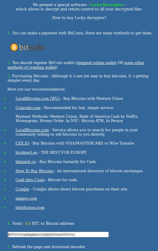 Guía de compra Locky Decrypter adaptada por los estafadores
