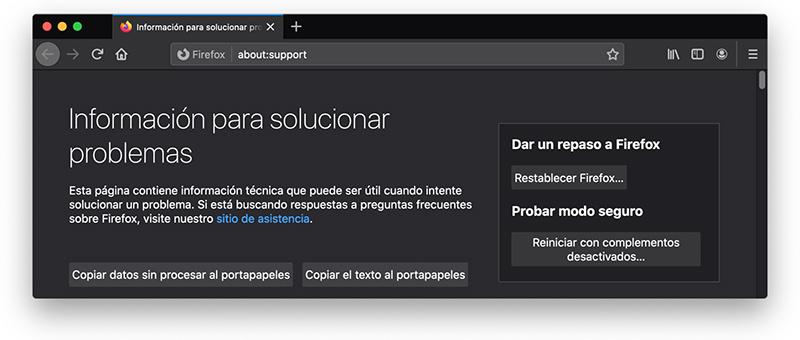 Mac Restablecer Firefox