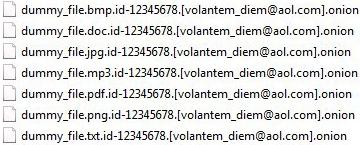 La vista de archivos afectados por ransomware Onion