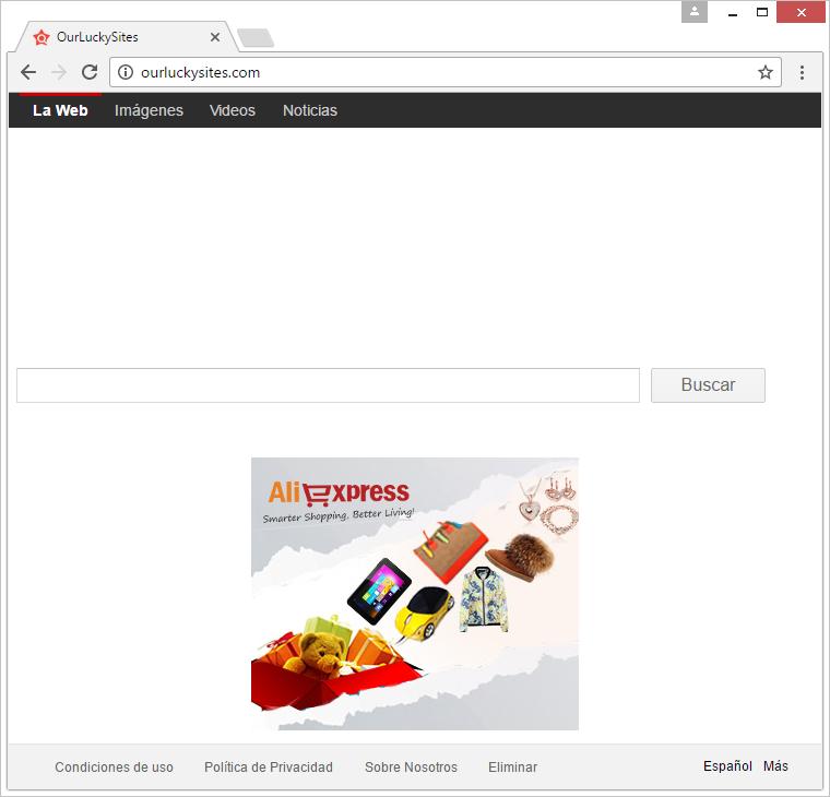 OurLuckySites página de inicio visitada debido a la manipulación de malware con los valores predeterminados del navegador
