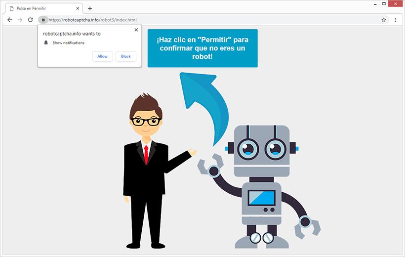 El virus Robot Captcha provoca redirecciones del navegador a robotcaptcha.info