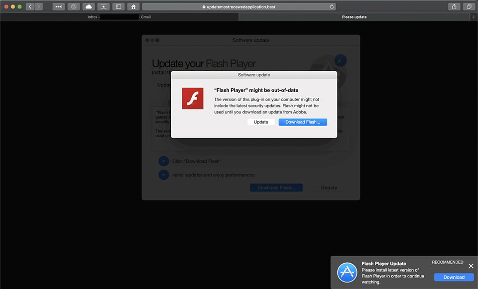 Truco falso de actualización de Adobe Flash Player que impulsa el adware Search Marquis