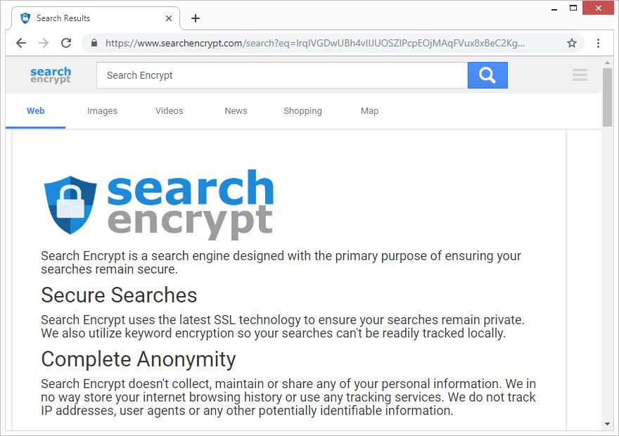 La petición de búsqueda fue redirigida a searchencrypt.com