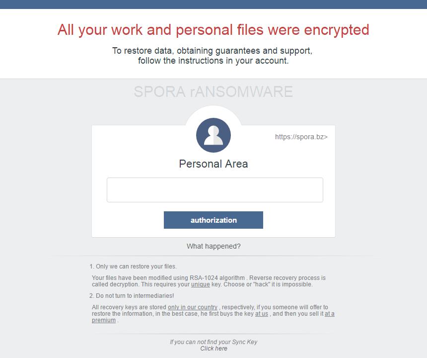 Alerta del ransomware Spora